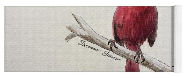 Male Cardinal In Winter Yoga Mat