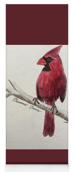 Male Cardinal In Winter Yoga Mat