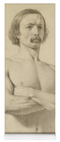 Male Nude - Academic Nude Study, Half-length With Moustache And Arms Folded  Yoga Mat