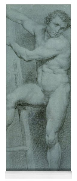 Male Nude Leaning On A Ladder Yoga Mat