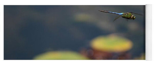 Malibu Blue Dragonfly Flying Over Lotus Pond Yoga Mat