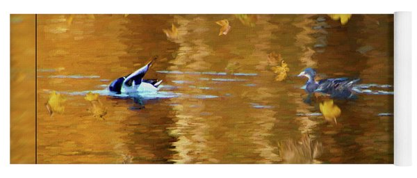 Mallard Ducks On Magnolia Pond - Painted Yoga Mat