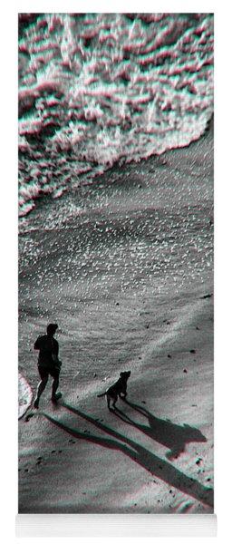 Man And Dog On The Beach Yoga Mat