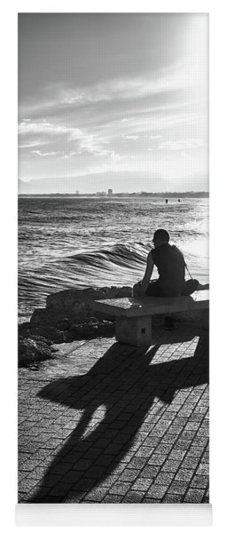 Yoga Mat featuring the photograph Man Looking At The Sea In Spain by Eduardo Jose Accorinti