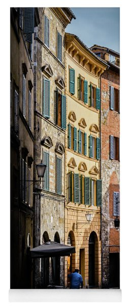 Man Walking Alone In Small Street In Siena, Tuscany, Italy Yoga Mat