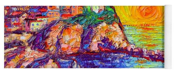 Manarola Magical Sunset Cinque Terre Italy Modern Impressionism Impasto Knife Oil Ana Maria Edulescu Yoga Mat