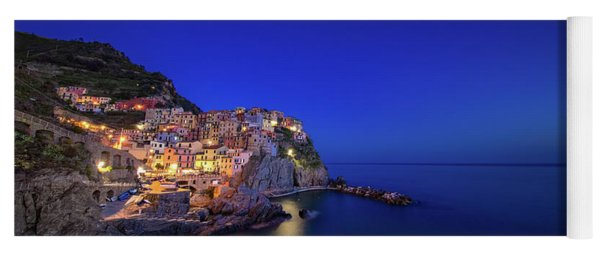 Yoga Mat featuring the photograph Manarola Village During Blue Hour At Night by IPics Photography