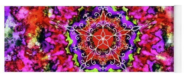 Mandala Floral Red Purple Yoga Mat