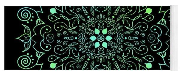 Mandala Teal And Black Yoga Mat