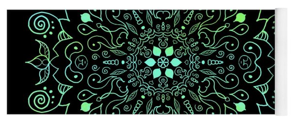 Mandala Teal And Black Yoga Mat
