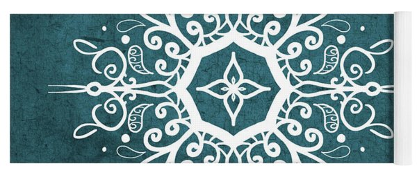 Mandala Teal And White Yoga Mat