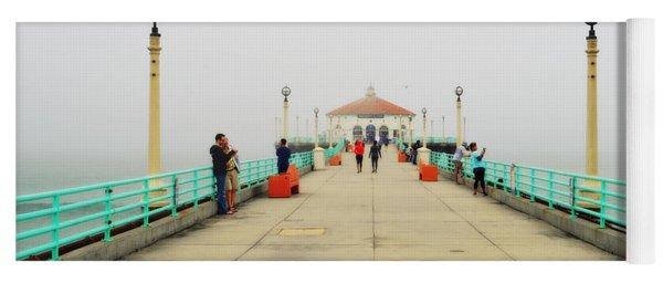 Manhattan Beach Pier On A Foggy Morning Yoga Mat