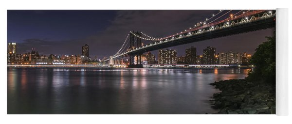Manhattan Bridge Twinkles At Dusk Yoga Mat