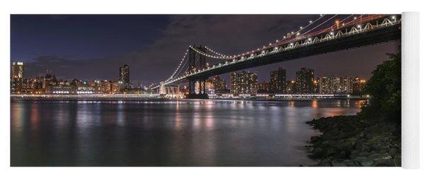 Manhattan Bridge Twinkles At Dusk Yoga Mat
