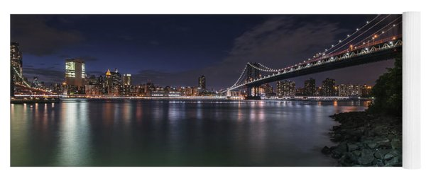 Manhattan Bridge Twinkles At Night Yoga Mat