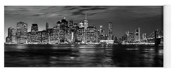 Manhattan Skyline At Dusk From Broklyn Bridge Park In Black And  Yoga Mat