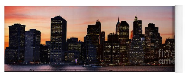 Manhattan Skyline At Dusk From Brooklyn Heights Yoga Mat