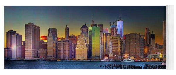 Manhattan Skyline Sunset Yoga Mat