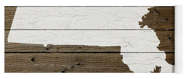 Map Of Massachusetts State Outline White Distressed Paint On Reclaimed Wood Planks Yoga Mat
