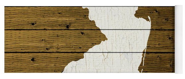 Map Of New Jersey State Outline White Distressed Paint On Reclaimed Wood Planks Custom Brown Yoga Mat