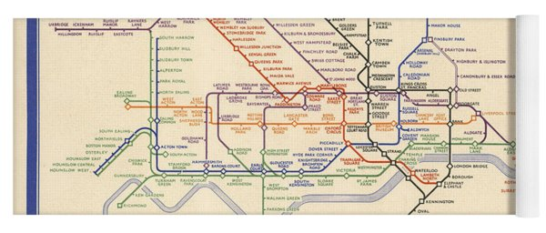 Map Of The London Underground - London Metro - 1933 - Historical Map Yoga Mat