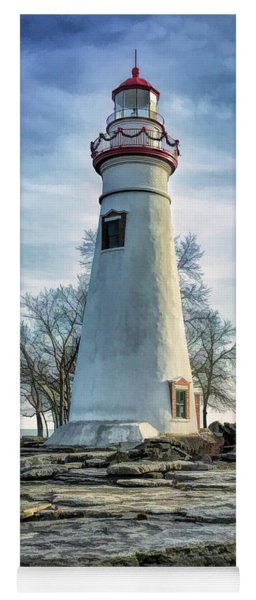 Yoga Mat featuring the painting Marblehead Lighthouse by Christopher Arndt