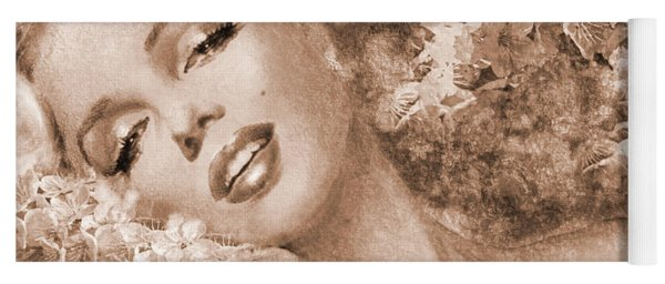 Marilyn Cherry Blossoms, Sepia Yoga Mat