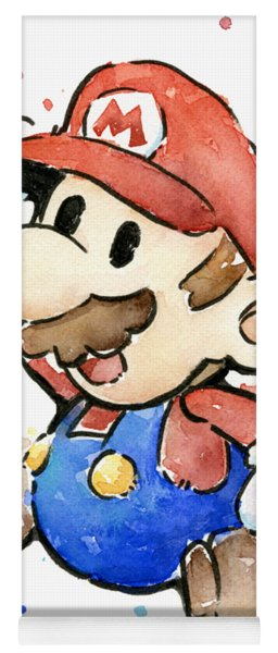 Mario Watercolor Fan Art Yoga Mat