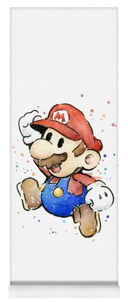 Mario Watercolor Fan Art Yoga Mat