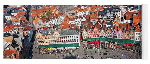 Yoga Mat featuring the photograph Markt Square Bruges From Above - Bruges by Barry O Carroll