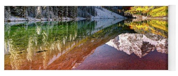 Olena Art Sunrise At Maroon Bells Lake Autumn Aspen Trees In The Rocky Mountains Near Aspen Colorado Yoga Mat