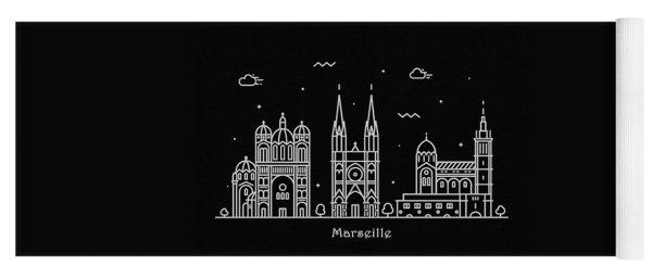 Marseille Skyline Travel Poster Yoga Mat