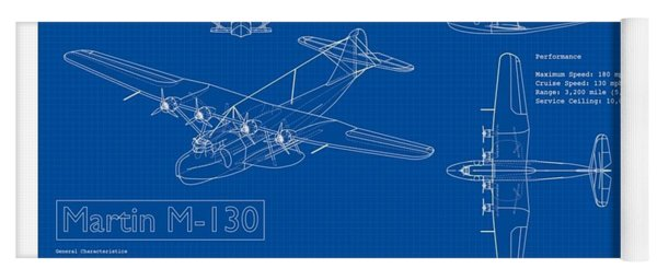 Martin 1935 M 130 Seaplane Blueprint Yoga Mat