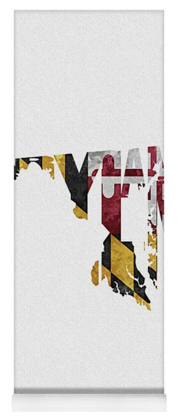 Maryland Typographic Map Flag Yoga Mat