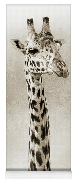 Masai Giraffe Closeup Square Sepia Yoga Mat