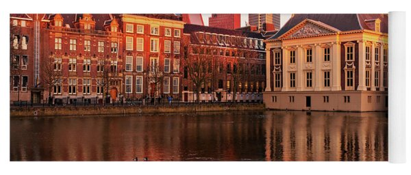 Yoga Mat featuring the photograph Mauritshuis And Hofvijver At Golden Hour - The Hague by Barry O Carroll