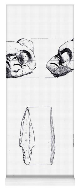 Maya Cat Head And Stone Tools Yoga Mat