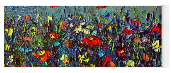 Meadow Dawn Colorful Wildflowers Abstract Impressionism Impasto Knife Painting By Ana Maria Edulescu Yoga Mat