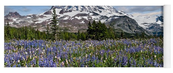 Meadow Of Lupine Near Mount Rainier Yoga Mat