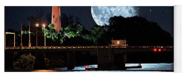 Mega Super Moon Rising Over Jupiter Lighthouse Yoga Mat