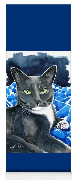 Melo - Blue Tuxedo Cat Painting Yoga Mat