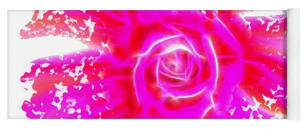 Melting Pink Rose Fractalius Yoga Mat