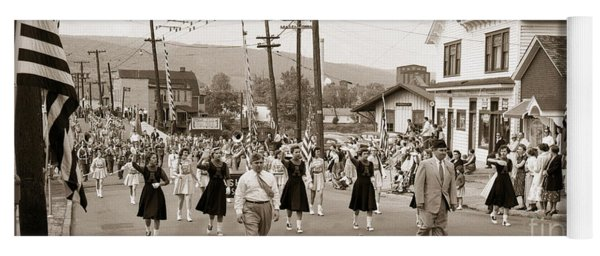 Memorial Day Parade Ashley Pa With Train Station And The Huber Colliery In Background 1955 Yoga Mat