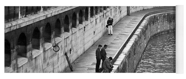 Men Fishing In The Seine River, Paris, 1974 Yoga Mat