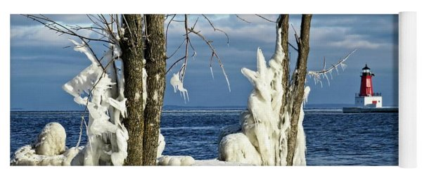 Menominee Lighthouse Ice Sculptures Yoga Mat
