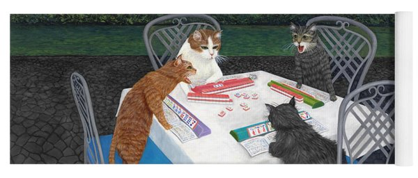Meowjongg - Cats Playing Mahjongg Yoga Mat