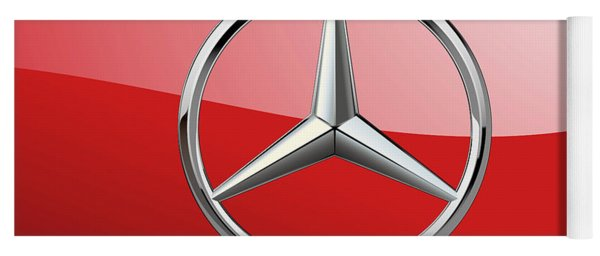 Mercedes-benz - 3d Badge On Red Yoga Mat