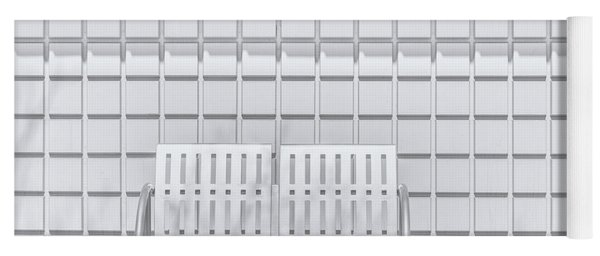Metal Bench Against Concrete Squares Yoga Mat