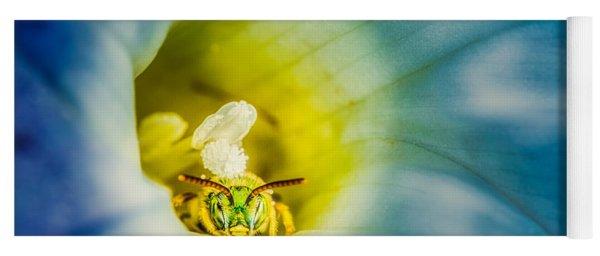 Metallic Green Bee In Blue Morning Glory Yoga Mat