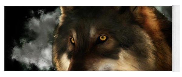 Midnight Stare - Wolf Digital Painting Yoga Mat